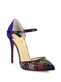Christian Louboutin - Rivierina Firework-Studded Suede Ankle-Strap Pumps