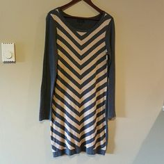 Grey/Cream Sweater Dress Worthington Grey/Cream Sweater Dress. NWOT. Never worn. Cotton/Rayon. Size large. Dresses Long Sleeve