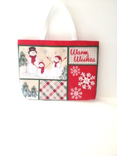 "Medium Christmas Snowman Tote Bag ""Warm Wishes"" on Etsy, $26.00"