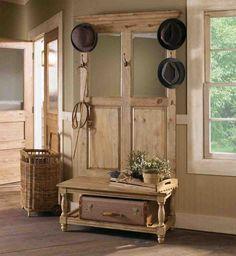 ▷ Decorating ideas for old doors - decoration to amaze- ▷ Ideen für alte Türen dekorieren – Deko zum Erstaunen wardrobe-old-door-in-suitcase of-a-house-for-hats-and-a- - Décor Niche, Niche Decor, Hall Tree Storage Bench, Hall Tree Bench, Shoe Storage, Diy Storage, Storage Hooks, Furniture Projects, Wood Furniture