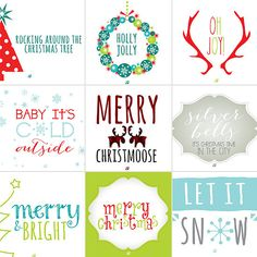Featured on SAVVYSUGAR! So awesome! #lostbumblebee 20+ Free and Noncheesy Christmas Card Printables