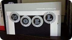noel fireplace card, scoring, bunting, rosettes, chalkboard font effect www.carinascrafts.wordpress.com