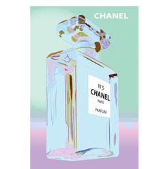 Vintage Poster - Chanel No. 5 - Parfum - Perfume - Paris - Pink - Blue - Pastel - Luxury - Pop Art - As seen on The Block Sky High