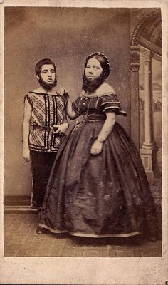 bearded lady and child.