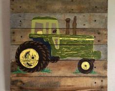 Tractor Art,14x14.5,Pallet Art,Boys Rustic Wall Art,Tractors,Farm,Farmer,Barn,Farm house Decor,Boys Room,John Deere,Birthday,27BinkStreet