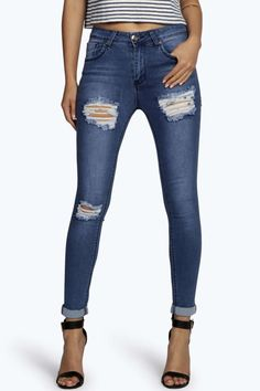 Jess Mid Rise Distressed Thigh Skinny Jeans alternative image