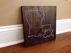 Louisiana Wood Sign, Custom Lousiana State Sign, Stained and Hand Painted, Personalize, Louisiana decor, Saints decor, LSU Tigers decor by RusticStrokes on Etsy