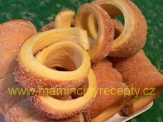 Domácí trdelník Onion Rings, Food And Drink, Peach, Vegetarian, Baking, Ethnic Recipes, Christmas, Hampers, Xmas