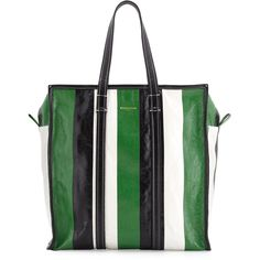 Balenciaga Bazar Medium Striped Leather Shopper Tote Bag ($1,645) ❤ liked on Polyvore featuring bags, handbags, tote bags, handbags totes, zip top tote bag, zipper tote, leather tote shopper and leather purses