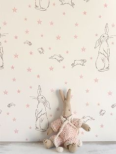 Bunny wallpaper for the nursery.