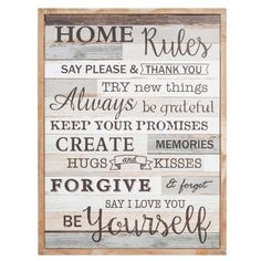 HOME RULES wooden wall art 50 x 65 cm
