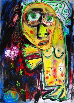 """""""Estoy junto a ti al borde de la mosca"""" de Victoria Barranco @ VirtualGallery.com - Pintura acrílica en cartón de 50x70 cm (19.7x27.6 in). Arte marginal. Figura de una mujer en un episodio de enfermedad mental. (2015)"""