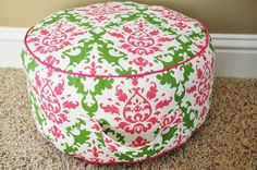Tutorial: All you need is 1 yard of fabric to make this cute floor cushion.  What a great addition to your library!
