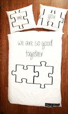 Pościel 'We are so good together' Good Mood - Pościel na dobry nastój! Puzzle Pieces, Good Mood, Bed Pillows, Valentines Day, Reusable Tote Bags, Cool Stuff, Gifts, Etsy, Collection