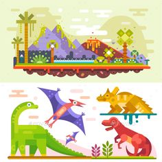 Awesome Prehistoric Dinosaur Set. by Tastyvector Awesome prehistoric dinosaur set with ancient landscape: tyrannosaurus  rex, diplodocus, triceratops, Jurassic landscape. Flat vec