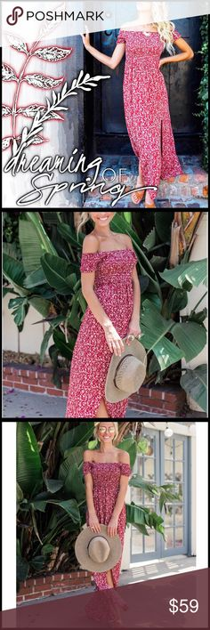 "Smocked Blossom Dress Dreaming of our next vacay! We love the festival vibes of this ruched off the shoulder maxi dress! The flattering bodice, red color palette and whimsical fit make this perfect for styling with sandals, booties or heels. The ruched bodice fits your size perfectly! Knot it up and wear with booties!  *Dual Front Slits *Elastic Bodice and Waist Band Not Lined *Size Small: 48"" from neckline to hem *Fabric: 65% Cotton and 35% Polyester Model is 5'7"" and wears a Small Boutique…"