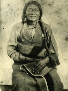 """Studio photograph of Kiowa-Plains Apache Chief Pacer, also known as """"Peso"""" or """"Essa-queta."""" Photograph taken by William Stinson Soule in Fort Sill, Indian Territory in 1871.:"""