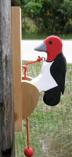 Red-headed woodpecker door knocker. by NatureWoodcraft on Etsy