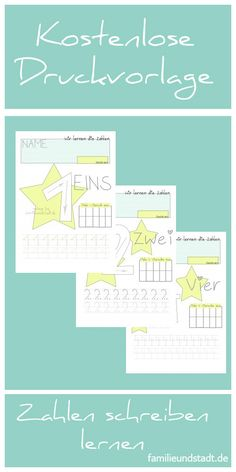 Zahlen lernen Kindergarten und Vorschule - kostenlose Druckvorlagen zum Zahlen schreiben mit Kindern