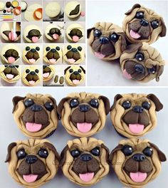 Pug Cupcakes for Angie and the girls