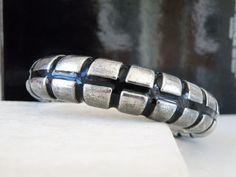 Vintage Brutalist Oxidized Sterling Silver Electroform? Enamel? Bangle Bracelet #Handmade #Statement #Brutalist #Modernist #MidCentury #Jewelry #SterlingJewelry #ModernJewelry
