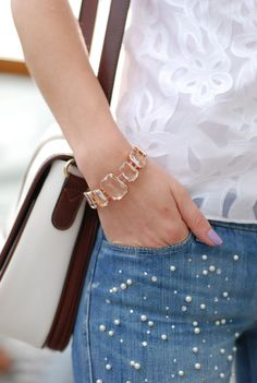 Pearl embellished Jeans. These are fabulous I love them.