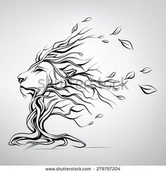 The head of a lion in the form of a tree