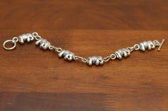 Vintage Silver Elephant Link Bracelet by DustyElephantShop Elephant Jewelry, Saddle Blanket, Indian Elephant, Little Elephant, Link Bracelets, Vintage Silver, Etsy, Asian Elephant