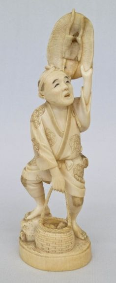 Meiji Japanese Fisherman Carved Ivory Okimono Figure : Lot 159