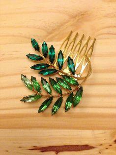Vintage Green Hair Comb: Emerald Green and Gold Wedding Bridal Bridesmaid Costume Cosplay Comb