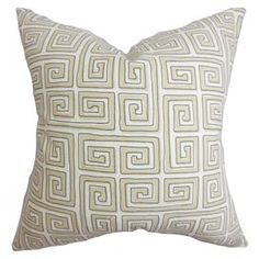 """Cotton pillow with a Greek key motif and feather-down fill. Made in Boston, Massachusetts.   Product: PillowConstruction Material: Cotton cover and 95/5 down fillColor: Twine and whiteFeatures:  Insert includedHidden zipper closureMade in Boston Dimensions: 18"""" x 18""""Cleaning and Care: Spot clean"""