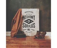 Neu army Surplus Co Wood Signage