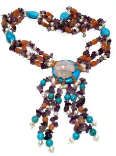 DRAMATIC PEARL SEMI PRECIOUS STONE CARVED PENDANT NECKLACE TURQUOISE 184 GRAMS