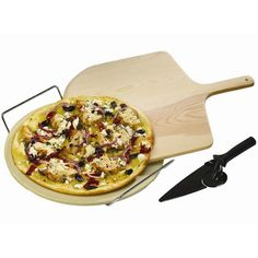 The GrillPro Pizza Stone Set contains everything you need to create mouthwater pizza at home. The set includes a pizza stone, stainlesss steel stone holder, wooden pizza peel and pizza cutter and serving tool. The pizza stone is the star of the gr Best Pizza Stone, Grill Stone, Bbq Accessories, Camping Grill, Outdoor Oven, Grilled Pizza, Tailgate Food, How To Make Pizza, Good Pizza