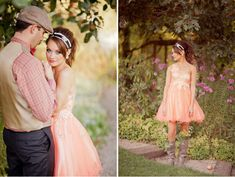 peach dress, flowers in boots