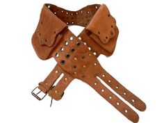 Leather Utility Belt beige suede  4 pockets by EarthCultured, $79.00