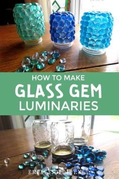 Creative glowing garden art with leftover food jars and glass gems from the dollar store. garden art How to Make Mason Jar Luminaries (Garden Treasure Jars) Mason Jar Gifts, Mason Jar Candles, Mason Jar Diy, Scented Candles, Glass Candle, Recycled Gifts, Upcycled Crafts, Easy Plastic Bottle Crafts, Recycling For Kids