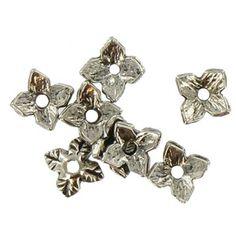 6mm Antique Silver Leaf Metal Bead Caps