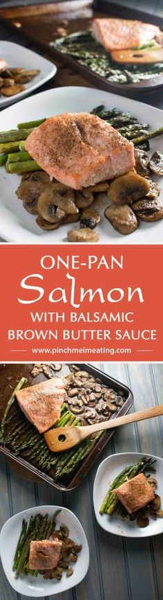 One-pan salmon with asparagus and mushrooms with balsamic brown butter sauce is the easiest, most delicious dinner - and it's ready in only 20 minutes! This is my new favorite meal! | www.pinchmeimeating.com