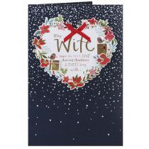 Ditsy Floral Heart Wife Christmas Card