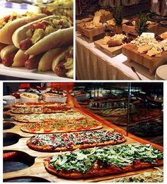 reception food stations, flat bread pizzas, gourmet hotdogs
