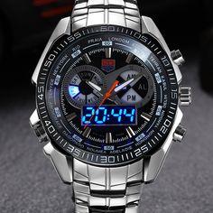 Mens Watches TVG Luxury Brand Steel Quartz Clock Digital LED Watch Army Military Sport Watch Male Wrist Watch relogio masculino