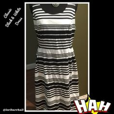 Merona NWOT Classic black and white striped dress Classic black and white dress by Merona size medium! Still debating on whether to sell this one or not ??? Merona Dresses