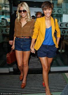 mustard yellow blazer, cobalt blue top and navy shorts