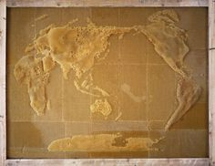 Artist Ren Ri works with bees to create art like this map of the world made of honeycombs.