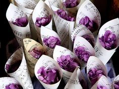This week the Guardian collected pictures from readers with a #PURPLE theme! Heres purple confetti made from petals in newspaper cones purple-weddings