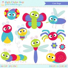 These cute bugs are perfect for Spring projects! Clipart included: ladybug, dragonfly, butterfly, mosquito, caterpillar, snail, bee, lightning