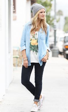 Jeans, T-shirt and jean shirt. Comfy style, fashion.