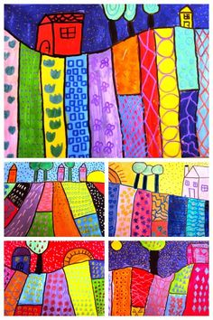 Landscapes by grade students Kindergarten Art Projects, School Art Projects, In Kindergarten, Arte Elemental, 3rd Grade Art Lesson, Primary School Art, Cityscape Art, Ecole Art, Art Lessons Elementary