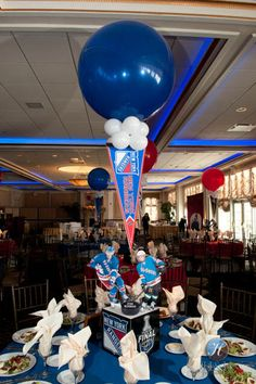 Rangers Themed Centerpiece Hockey Themed Rangers Centerpiece with Player Cutouts